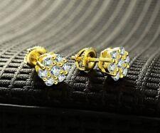 Men 14k Yellow Gold Finish 5mm Lab Diamond Round Screw Back Stud Earrings
