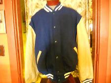 varsity letter jacket men's XL royal/creme