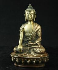 Old Tibetan Brass Buddhism Bodhisattva Sakyamuni Buddha Archaic Statue  RARE !
