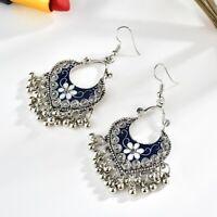 Women's Vintage Bohemian Boho Style Tibetan Carved Beads Tassel Dangle Earrings