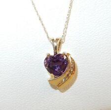 14k Yellow Gold 1.33ct Heart Shaped Amethyst Pendant - Diamond Accents - Chain