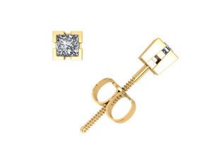 1/4Ct Princess Cut Diamond Basket Solitaire Stud Earrings 14k Gold V-Prong F VS2