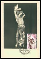 SPAIN MK 1962 BERRUGUETE HOLZSCHNITZEREI SKULPTUR CARTE MAXIMUM CARD MC CM cf67