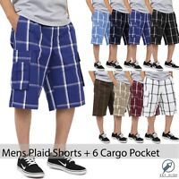 Mens Plaid Cargo Shorts Pants Big Size Multi pockets light weight S 5XL Checker