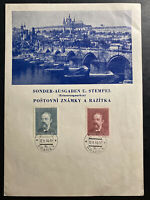1944 Prague Bohemia Moravia Germany Souvenir Sheet Cover Smetana Stamp Issue