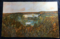Vintage Large Original Outsider Horses Surreal Landscape Painting P. Lecourt