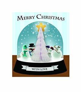 Glitter Finish PopUp Honeycomb 3D Xmas Card Snowmen Snowglobe Image White Tree