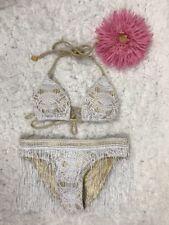 Luli Fama Braided Triangle Halter Bikini Set Fringe Overlay Bottom Sz Xs NWT$176