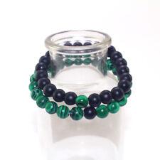 Retro Smooth Stone Malachite Nature Beaded Bracelet Handmade Unisex Lovers