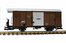 Train Covered Goods Wagon RhB Gbk-v Brown G Scale Stainless Steel Wheels