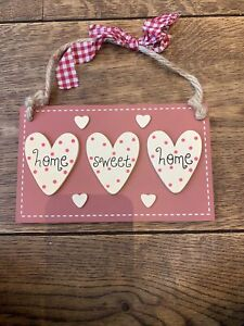 Home Sweet Home Hanging Plaque Wall Sign Country Style Heart Shape