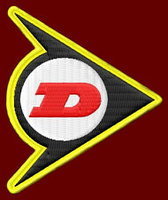 """DUNLOP EMBROIDERED PATCH ~3"""" x 2-1/2"""" TIRES MOTORCYCLE MOTO CROSS DRAG RACING"""