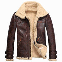 Vintage Mens Leather Lambs Fur Fleece Bomber Flight Winter Coats Buckle Jacket