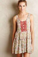 Anthropologie Paisley Print Dress Tunic Top Rust Chemise Tan Lace Fleur Wood