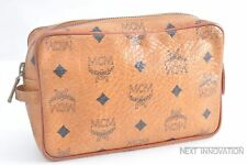 Authentic MCM Cognac Visetos Leather Vintage Clutch Hand Bag Brown 39530
