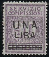 1925 REGNO SERVIZIO COMMISSIONI SOPR. 1 LIRA SU 90 CENT. OTTIMA CENTRATURA G.I**