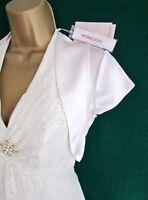 New MONSOON Uk 6 8 10 Ivory Satin DARCY Bridal Bolero Wedding Shrug Jacket -Rare
