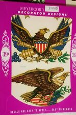 3 Vintage MeyerCord Co Water Decal No. X 1104D Bald Eagle with Shield NOS