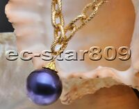 """P5881 17"""" 20mm Blue Round South Sea Shell Pearl Chain Pendant"""