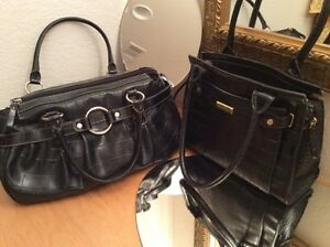Lot Of 2 Black Croco Purse Hand Shoulder Bags: Marc Fisher & Axcess