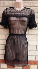 TOPSHOP PETITE BLACK MESH RUCHED SEE THROUGH TUNIC CAMI TOP BLOUSE SHIRT 4 6