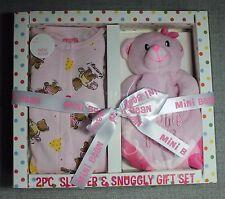 MINI BEAN INFANT GIRLS 2 P/C PINK SLEEPER & SNUGLY BEAR GIFT SET SZ 0-3/M NWT'S