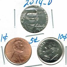 2014 Three Denver Brilliant Uncirculated Business Strike Cent, Nickel,Dime Coins