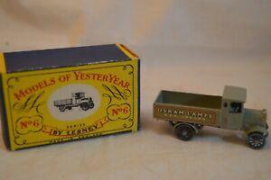 VINTAGE LESNEY MATCHBOX MODELS YESTERYEAR Y6 TYPE 1 OSRAM LAMP LORRY TRUCK BOX