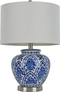 """NEW Décor Therapy TL7912 20"""" Ceramic Table Lamp Light Blue / White Finish"""