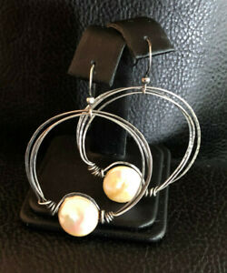 """Sterling Silver Earrings Coin Pearl Oxidized Circle Handmade 2"""" 5g 925 #1195"""