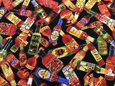 Benartex - Some Like It HOT - Hot Sauce Bottles Fabric - 100% Cotton