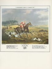 "1974 Vintage HUNTING ""THE FOX CHASE, SOUTHERLY WIND"" COLOR Art Print Lithograph"
