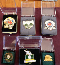 SIX DIFFERENT OFFICIAL WORLD SERIES & ALL STAR GAME PRESS PINS - MINT IN BOX