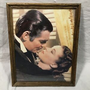 Gone With The Wind Framed Color Photograph Rare Clark Gable Vivien Leigh 11 x 14