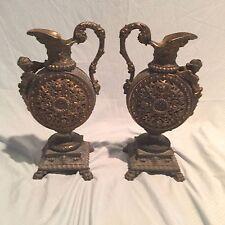 Pair of Antique Renaissance Revival Style Pierced Figural Garniture Ewers