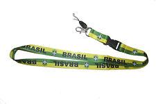 BRASIL YELLOW GREEN CBF LOGO FIFA SOCCER WORLD CUP LANYARD KEYCHAIN PASSHOLDER