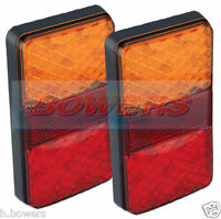2x LED AUTOLAMPS 150BARE RECTANGULAR 12V REAR COMBINATION TAIL LAMPS LIGHTS