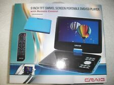 """9"""" Craig Ctft713 180° Swivelscreen Portable Dvd Player, Remote & More New Blue!"""