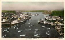 1930s Harbour Victoria Bc Canada hand colored postcard 5031