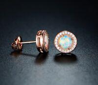 Sevil 18K Rose Gold Plated Created Opal Halo Stud Earrings W Swarovski Elements