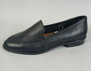 M&S Ladies Black Loafers Shoes Size 7 Leather Flat Slip On Smart Formal Insolia