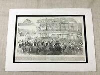 1856 Stampa Vittoriano Militare Surrey Giardini Music Hall Vecchio Quadro Antico