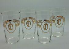 "Vintage Monogram ""O"" Highball Glasses Gold Lettering & Design Lot of 4 MINT"
