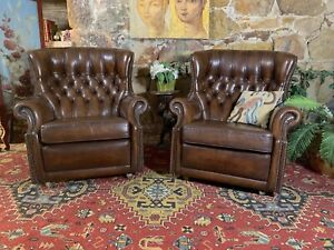 Pair Vintage Chesterfield English Leather WingBack Armchairs~Lounge~Chair-Brown