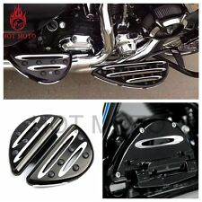 Black Deep Cut Passenger Floorboards For Harley FLH FLST FLD Arlen Ness 86-15