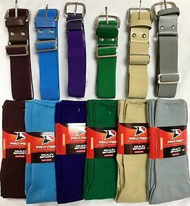 Baseball Softball Belt and Athletic Sock Combo Youth Women Men