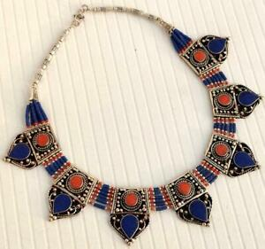 STUNNING SILVER PLATED NEW TIBETAN LAPIS CORAL HANDMADE NEPALESE NECKLACE