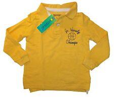 NWT Sz 2T Greendog Boy's Yellow Long Sleeve Graphic Polo T-shirt 100% Cotton New