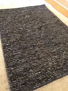 Modern Spectacular Silk/wool Tibetan  Knotted Rug 2'X3' Stripe Hand Woven Black