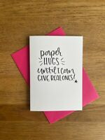 paper hugs - missing you/lockdown/friends/thinking of you greetings card